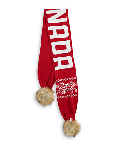 Canadian Olympic Team Collection Adult Faux Fur Pom Pom Scarf-RED-One Size