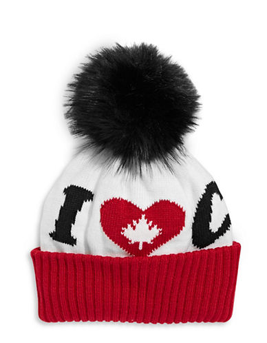 Canadian Olympic Team Collection Adult I Heart Canada Pom-Pom Tuque-WHITE-One Size