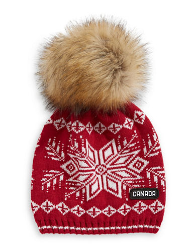 Canadian Olympic Team Collection Snowflake Tuque with Faux Fur Pom Pom-RED-One Size