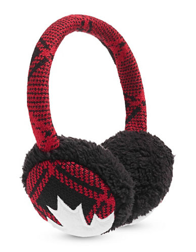 Canadian Olympic Team Collection Buffalo Check Ear Muffs-RED-One Size