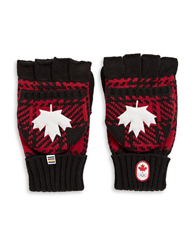 Canadian Olympic Team Collection Buffalo Check Flip-Top Mittens-RED-Large/X-Large