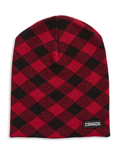 Canadian Olympic Team Collection Buffalo Check Slouchy Tuque-RED-One Size
