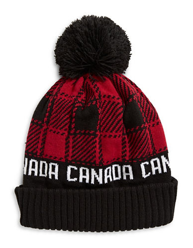 Canadian Olympic Team Collection Buffalo Check Tuque with Faux Fur Pom Pom-RED-One Size