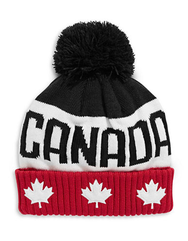 Canadian Olympic Team Collection Adult Block Tuque with Faux Fur Pom-Pom-RED-One Size