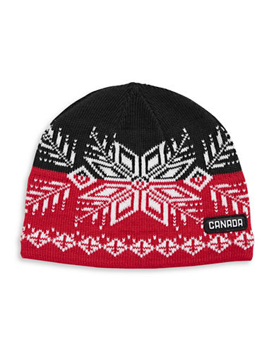 Canadian Olympic Team Collection Adult Snowflake Fleece-Lined Tuque-RED-One Size