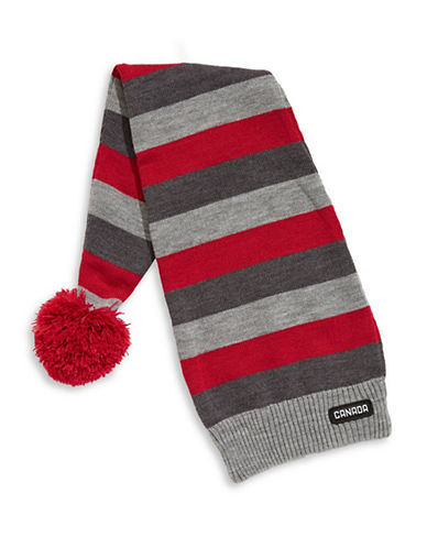 Canadian Olympic Team Collection Adult Striped Stocking Hat-GREY-One Size