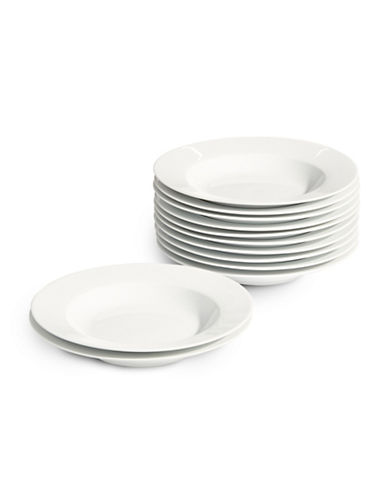 Glucksteinhome Catering 12-Piece Porcelain Rimmed Soup Bowls-WHITE-One Size