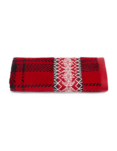 Distinctly Home Set of Two Snowflakes Cotton Hand Towels-RED-Hand Towel