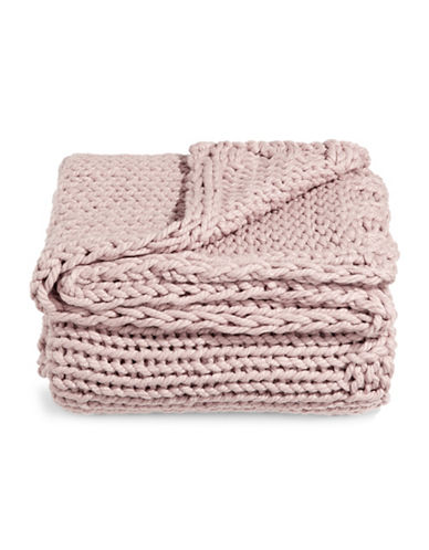 Glucksteinhome Cable Knit Throw-LIGHT PINK-One Size