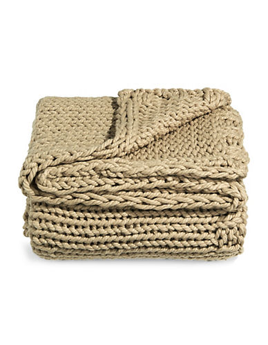 Glucksteinhome Cable Knit Throw-BEIGE-One Size