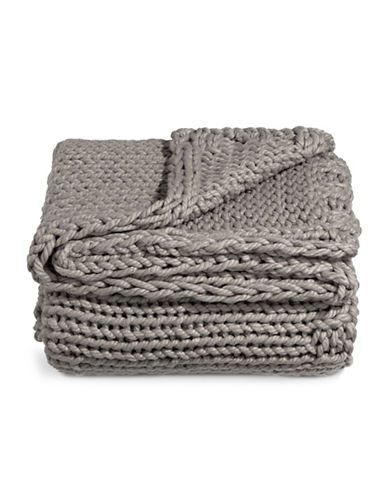 Glucksteinhome Cable Knit Throw-CHARCOAL-One Size