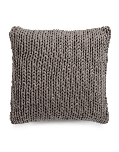 Glucksteinhome Cable Knit Cushion-CHARCOAL-18x18