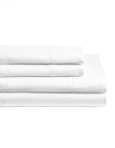 Glucksteinhome Four-Piece Cotton Blend Sheet Set-WHITE-King