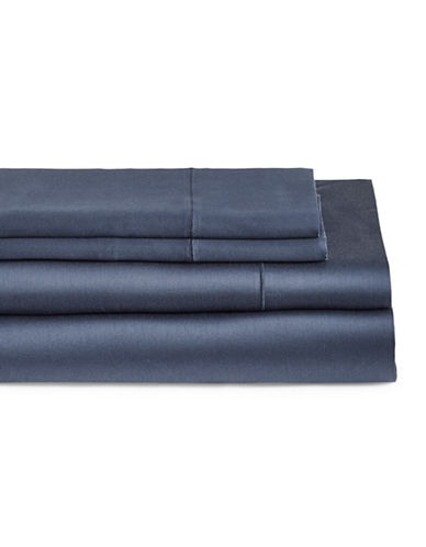 Glucksteinhome Four-Piece Cotton Blend Sheet Set-DARK BLUE-Queen