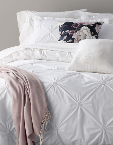 Distinctly Home Three-Piece Rossette Square Duvet Cover Set-WHITE-Queen