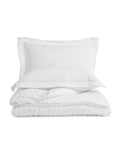 Distinctly Home Seersucker Three-Piece Duvet Cover Set-WHITE-Twin