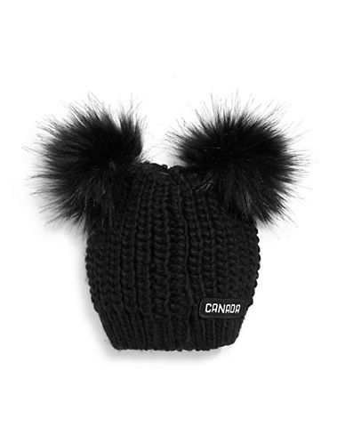 Canadian Olympic Team Collection Infant Double Faux Fur Pom-Pom Tuque-BLACK-One Size