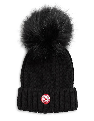 Canadian Olympic Team Collection Adult Jumbo Tuque with Faux Fur Pom Pom-BLACK-One Size