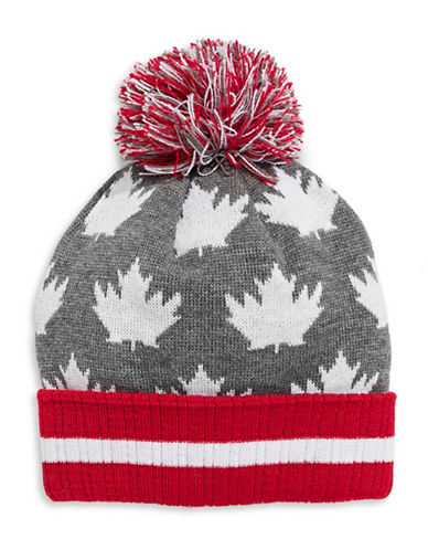 Canadian Olympic Team Collection Adult Leaf-Pattern Tuque-GREY-One Size