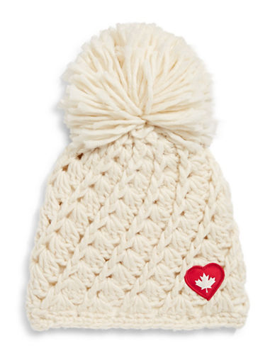 Canadian Olympic Team Collection Adult Heart Patch Oversized Pom-Pom Tuque-BEIGE-One Size