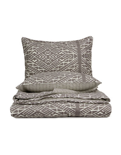 Glucksteinhome Modern Ikat Three-Piece Duvet Cover Set-LIGHT BROWN-King