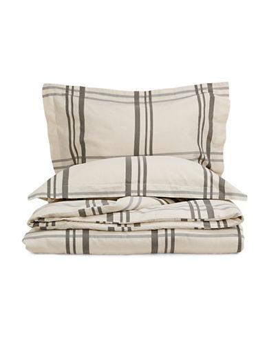 Glucksteinhome Hayden Three-Piece Linen-Cotton Duvet Cover Set-GREY-King