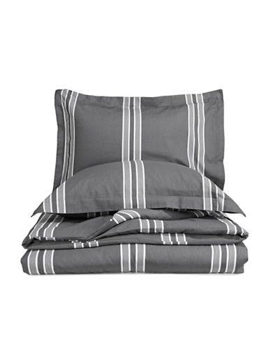 Glucksteinhome Mia Three-Piece Linen-Cotton Duvet Cover Set-GREY-Queen