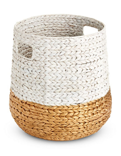 Distinctly Home Round Water Hyacinth Basket-WHITE-One Size