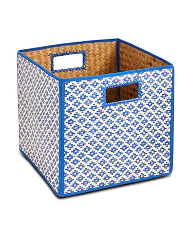 Distinctly Home Foldable Water Hyacinth Crate-BLUE-One Size