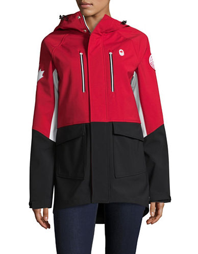 Canadian Olympic Team Collection Womens Closing Ceremony Softshell Jacket-RED/BLACK-X-Large