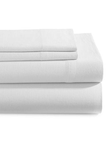 Glucksteinhome Four-Piece Linen-Cotton Sheet Set-WHITE-King