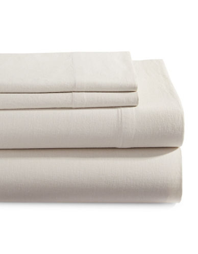Glucksteinhome Four-Piece Linen-Cotton Sheet Set-BEIGE-King