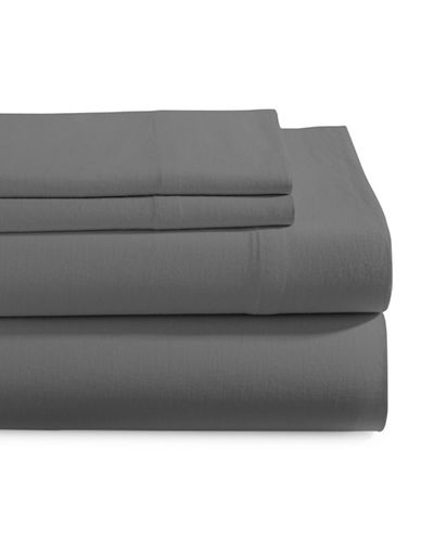 Glucksteinhome Four-Piece Linen-Cotton Sheet Set-CHARCOAL-Queen