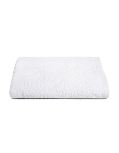 Glucksteinhome Medallion Cotton Plush Bath Towel-WHITE-Bath Towel