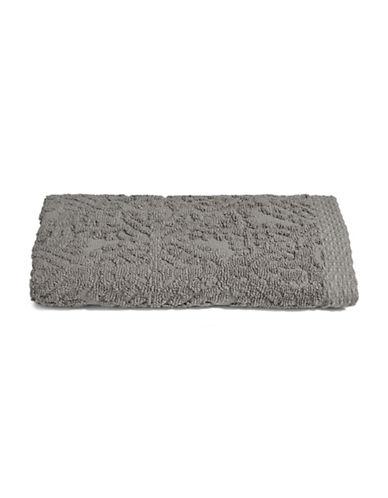 Glucksteinhome Medallion Cotton Plush Bath Towel-GREY-Bath Towel