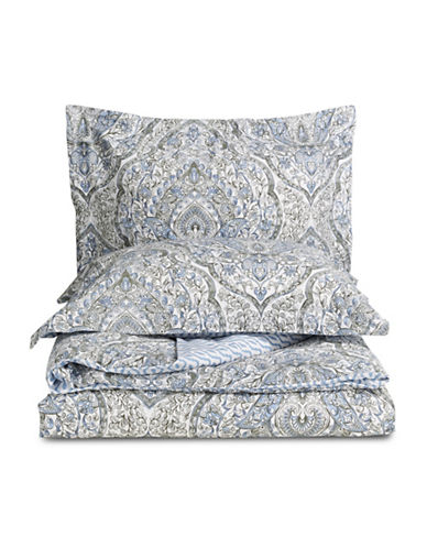 Distinctly Home Three-Piece Almira Cotton Duvet Cover Set-BLUE-King