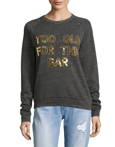 Bow And Drape Too Old Boyfriend Sweatshirt-CHARCOAL-Large