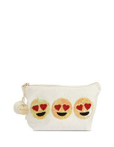 Bow And Drape Heart Eye Emoji Carryall Pouch-BEIGE-One Size