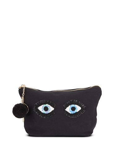 Bow And Drape Two Eye Emoji Carryall Pouch-BLACK-One Size