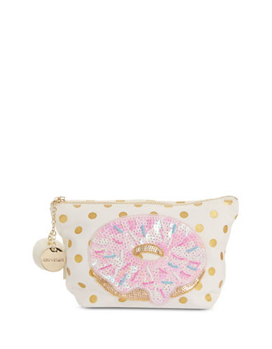 Bow And Drape Donut Emoji Carryall Pouch-GOLD DOT-One Size