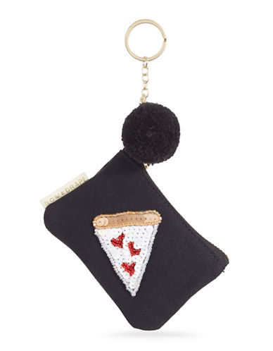 Bow And Drape Pizza Slice Mini Pom-Pom Pouch-BLACK-One Size