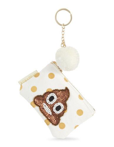 Bow And Drape Poop Emoji Mini Pom-Pom Pouch-GOLD DOT-One Size