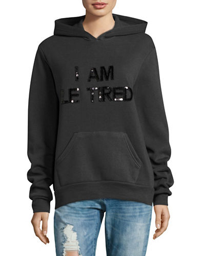 Bow And Drape I Am Le Tired Fleece Hoodie-BLACK-Small