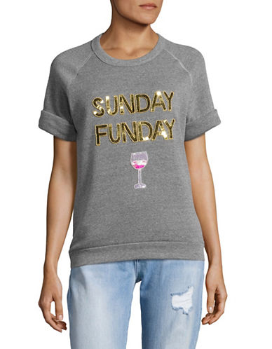 Bow And Drape Sunday Funday Short Sleeve Sweatshirt-HEATHER GREY-X-Large