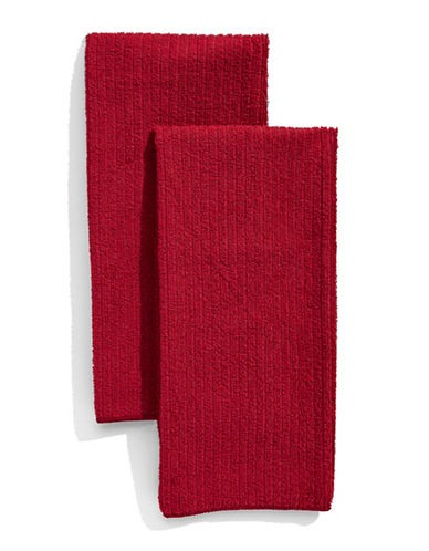 Distinctly Home Classic Kitchen Set of Two Microfibre Kitchen Towels-RED-One Size