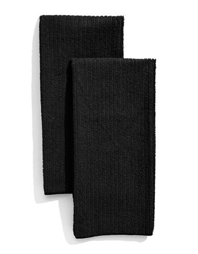 Distinctly Home Classic Kitchen Set of Two Microfibre Kitchen Towels-BLACK-One Size