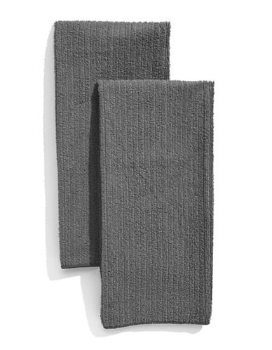 Distinctly Home Classic Kitchen Set of Two Microfibre Kitchen Towels-GREY-One Size