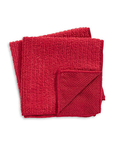 Distinctly Home Set of Two Microfibre Dishcloths-RED-One Size