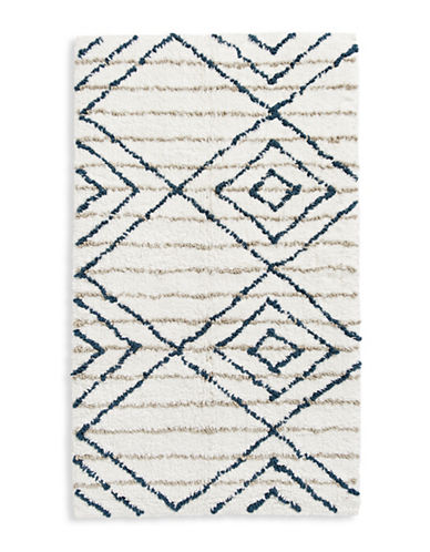 Distinctly Home Diamond Stripe Bath Rug-WHITE-21x34