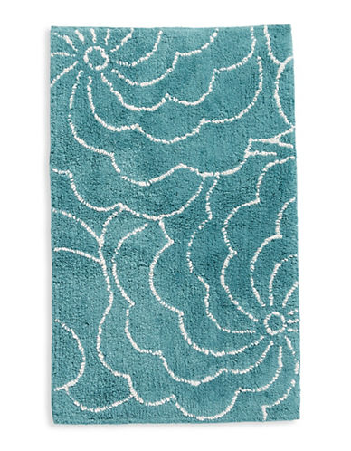 Distinctly Home Floral Bath Rug-AQUA-21x34